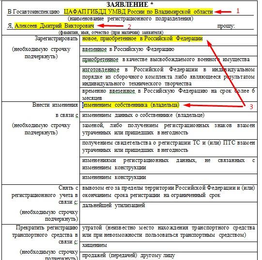 Заявление в Госавтоинспекцию образец